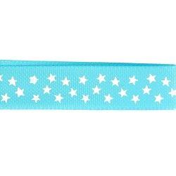 Gros grain turquoise - étoiles blanches  - 1Galon gros grain turquoise avec étoiles blanches 15 mm de largeur 1 unité = 0m50 ;