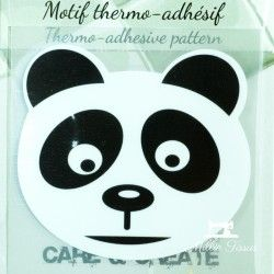 Motif thermo-adhésif Tête de Panda  - 1Motif thermo-adhésif -Tête de panda Largeur : 7,6cm X Hauteur : 6,7cm  Vendu à l'unité