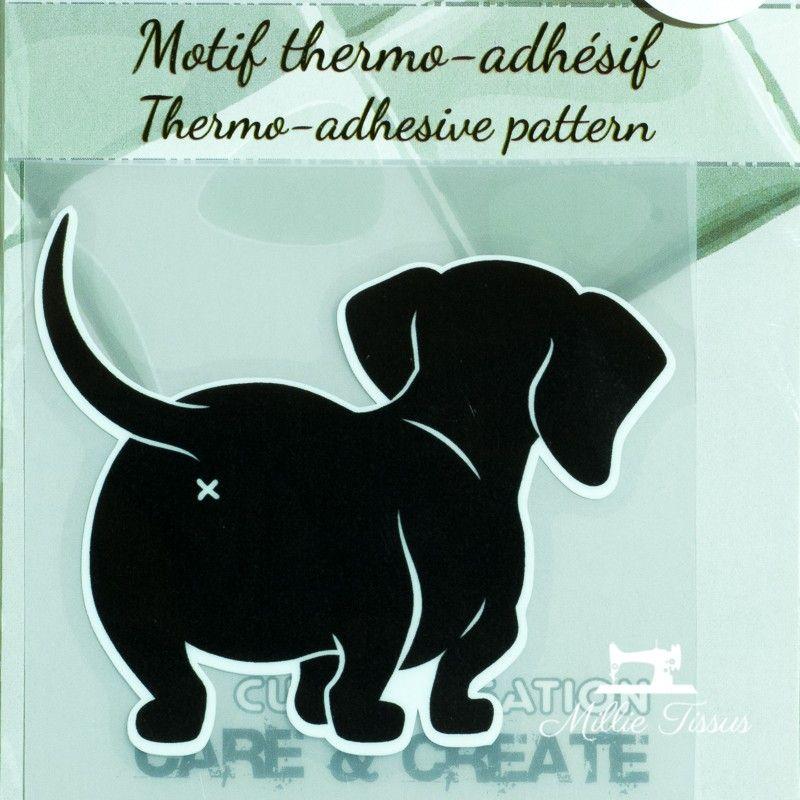 Motif thermo-adhésif Derrière de chien  - 1Motif thermo-adhésif - Derrière de chien Largeur : 6,6cm X Hauteur : 6cm  Vendu à l'u