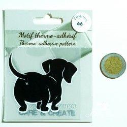 Motif thermo-adhésif Derrière de chien  - 2Motif thermo-adhésif - Derrière de chien Largeur : 6,6cm X Hauteur : 6cm  Vendu à l'u
