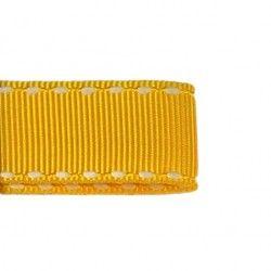 Galon jaune aspect gros grain - surpiqûres  - 1Galon aspect gros grain jaune et surpiqûres blanches 10 mm de largeur 1 unité= 0