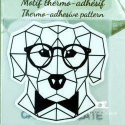 Motif thermo-adhésif Chien géométrique  - 1Motif thermo-adhésif - Chien géométrique Largeur : 7,1cm X Hauteur : 7cm  Vendu à l'u