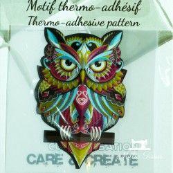 Motif thermo-adhésif Hibou coloré  - 1Motif thermo-adhésif -Hibou Coloré Largeur : 4,6cm X Hauteur : 7cm  Vendu à l'unité