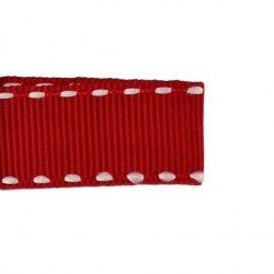 Galon rouge aspect gros grain - surpiqûres  - 1Galon aspect gros grain rouge et surpiqûres blanches 10 mm de largeur 1 unité= 0