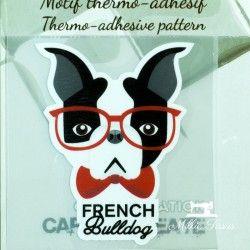 Motif thermo-adhésif French Bulldog  - 1Motif thermo-adhésif - French Bulldog Largeur : 5,1cm X Hauteur : 7cm  Vendu à l'unité