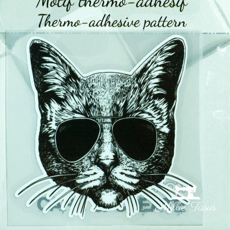 Motif thermo-adhésif Chats aux lunettes  - 1Motif thermo-adhésif -Chat aux lunettes Largeur : 7cm X Hauteur : 6,8cm  Vendu à l'