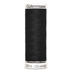 Bobine de fil noir 000 Gütermann 200m polyester pour tout coudre Gütermann - 1Bobine de fil noir coloris 000 . Bobine de 200m, q