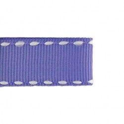 Galon parme aspect gros grain - surpiqûres  - 1Galon aspect gros grainparme et surpiqûres blanches 10 mm de largeur 1 unité= 0