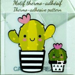 Motif thermo-adhésif Duo de Cactus  - 1Motif thermo-adhésif -Duo de cactus Largeur : 7cm X Hauteur : 7cm  Vendu à l'unité