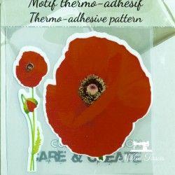 Motif thermo-adhésif Coquelicot  - 1Motif thermo-adhésif -Coquelicot (la grosse fleur) Largeur : 6,5cm X Hauteur : 6,5cm  Vendu