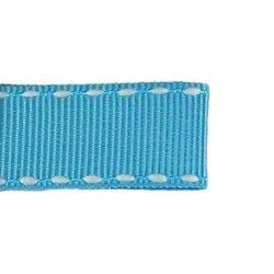 Galon turquoise aspect gros grain - surpiqûres  - 1Galon aspect gros grainturquoise et surpiqûres blanches 10 mm de largeur 1