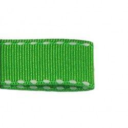 Galon vert aspect gros grain - surpiqûres  - 1Galon aspect gros grain vert et surpiqûres blanches 10 mm de largeur 1 unité= 0m5