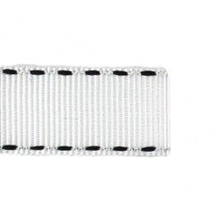 Galon blanc aspect gros grain - surpiqûres  - 1Galon aspect gros grain blanc et surpiqûresnoires 10 mm de largeur 1 unité= 0m5