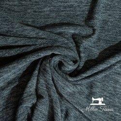 Tissu jersey faux uni réversible X10cm - Marine chiné  - 1Tissu jerseyréversible faux uni -Marine foncé (tirant sur un anthrac