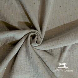 Tissu Double gaze coton pois dorés X10cm- argile  - 1Double Gaze à pois dorés en relief -argile 100%coton certifié Oeko-Tex Lai