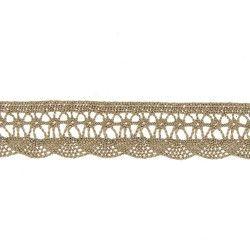 Dentelle coton vague - lin  - 1Dentelle coton , 20mm de large, couleur lin 1 unité = 0m50 ; pour plusieurs longueurs achetées, v