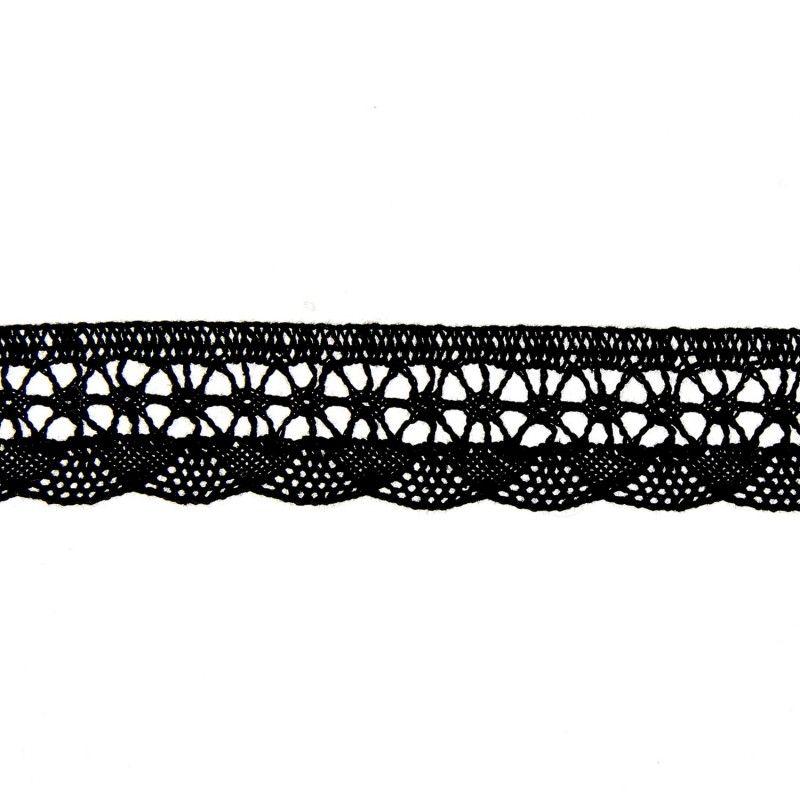 Dentelle coton vague noir  - 1Dentelle noire coton , 20mm de large 1 unité = 0m50 ; pour plusieurs longueurs achetées, vous rece