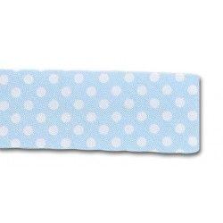 Biais à pois - bleu ciel  - 1Biaisbleu ciel à pois blanc 70% polyester , 30% coton Largeur : 20 mm 1 unité = 0m50 ; pour plusie