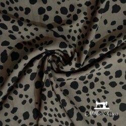 Tissu viscose imprimé animal  X10cm - Taupe  - 1Tissu imprimé animal - Taupe 100% viscose Laize d'1m45 Le tissu est vendu par mu
