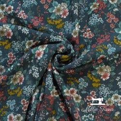 Tissu viscose  Meredith X10cm - anthracite  - 1Tissu à fleurs Meredith - anthracite 100% viscose Laize d'1m30 Le tissu est vendu