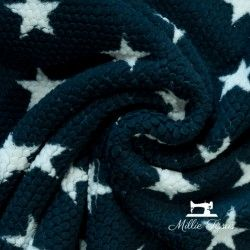 Tissu doudou toison étoiles  X10cm - marine  - 3Tissu doudou toison étoiles -Marine 100% polyester Laize d'1m50 Le tissu est ve