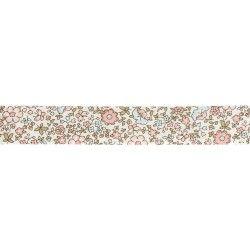 Biais à fleurs rose et bleu  - 1Biaisfond blanc avec fleurs rose et bleu clair 100% coton Largeur : 20 mm 1 unité = 0m50 ; pour