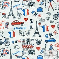 Tissu coton cretonne I love France X10cm - blanc  - 1Tissu cretonneI love France - blanc 100% coton Raccord : 21 cm Laize d'