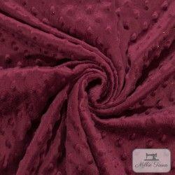 Tissu doudou minkee relief à pois X10cm - bordeaux  - 1Tissu doudou minkee relief à pois -bordeaux 100% polyester Laize d'1m50