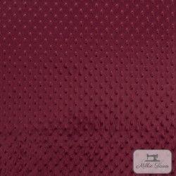 Tissu doudou minkee relief à pois X10cm - bordeaux  - 3Tissu doudou minkee relief à pois -bordeaux 100% polyester Laize d'1m50