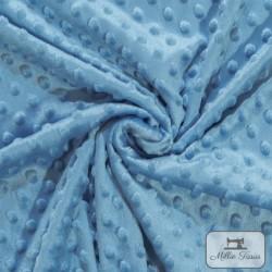 Tissu doudou minkee relief à pois X10cm - bleu pervenche  - 1Tissu doudou minkee relief à pois - bleu pervenche 100% polyester L