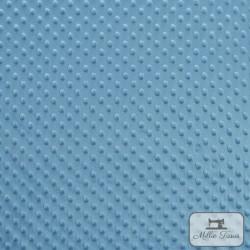 Tissu doudou minkee relief à pois X10cm - bleu pervenche  - 2Tissu doudou minkee relief à pois - bleu pervenche 100% polyester L