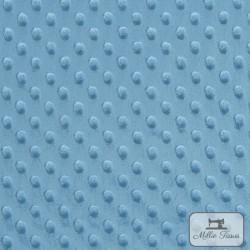 Tissu doudou minkee relief à pois X10cm - bleu pervenche  - 3Tissu doudou minkee relief à pois - bleu pervenche 100% polyester L
