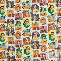 Tissu coton cretonne Frida X10cm - orange  - 1Tissu cretonne Frida -orange 100% coton Hauteur motif : environ 6cm - Raccord :