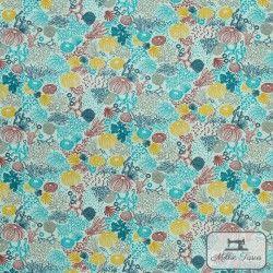 Tissu coton cretonne enduit Abysses X10cm - Turquoise  - 1Tissucretonne enduitAbysses - Turquoise Raccord :15,9 cm 100% coton