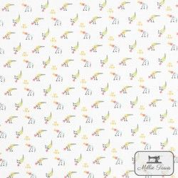 Tissu coton Le Pluvier X10cm - Blanc  - 1Tissucoton Le Pluvier -Blanc 100% coton - certifié OekoTex Hauteur du motif: 1cm - R