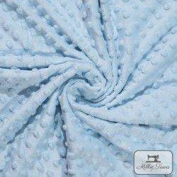 Tissu doudou minkee relief à pois X10cm - Ciel  - 1Tissu doudou minkee relief à pois - bleu ciel 100% polyester Laize d'1m50 Le