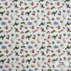 Tissu coton Toy Story 3 X10cm - blanc  - 2Tissucoton Toy Story 3 - Blanc 100% coton - Bio certifié GOTS et OekoTex Laize d'1m50