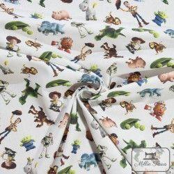 Tissu coton Toy Story 3 X10cm - blanc  - 3Tissucoton Toy Story 3 - Blanc 100% coton - Bio certifié GOTS et OekoTex Laize d'1m50