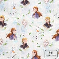 Tissu coton La Reine des Neiges 2 X10cm - blanc  - 1TissucotonLa Reine des Neiges 2 - Blanc 100% coton - Bio certifié GOTS et