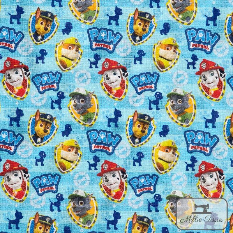 Tissu coton Paw Patrol X10cm - bleu  - 1TissucotonPaw Patrol- Bleu 100% coton - Bio certifié GOTS et OekoTex Hauteur: environ