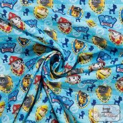 Tissu coton Paw Patrol X10cm - bleu  - 2TissucotonPaw Patrol- Bleu 100% coton - Bio certifié GOTS et OekoTex Hauteur: environ