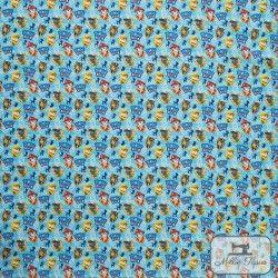 Tissu coton Paw Patrol X10cm - bleu  - 3TissucotonPaw Patrol- Bleu 100% coton - Bio certifié GOTS et OekoTex Hauteur: environ