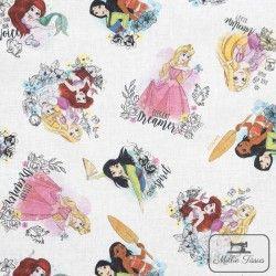 Tissu coton Princesses Disney X10cm - blanc  - 1TissucotonPrincesses Disney - Blanc 100% coton - Bio certifié GOTS et OekoTex