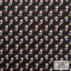 Tissu coton Tête de mort fleurie X10cm - Noir  - 1TissucotonTête de Mort Fleurie - Noir 100% coton Hauteur motif : 3,7cm - Ra