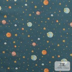 Tissu coton Planète X10cm - Bleu  - 1TissucotonPlanètes-Bleu 100% coton Hauteur motif : environ 2cm - Raccord: 19,5cm Laize