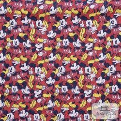 Tissu coton Mickey X10cm - Rouge  - 1Tissucoton Mickey - Rouge 100% coton - Bio certifié GOTS et OekoTex Hauteur personnages: 6