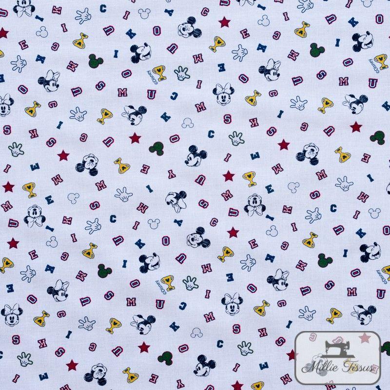 Tissu coton Mickey Champion X10cm - Blanc  - 1Tissucoton Mickey -Blanc 100% coton - Bio certifié GOTS et OekoTex Hauteurenvir