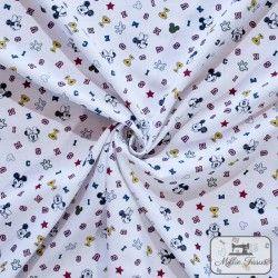 Tissu coton Mickey Champion X10cm - Blanc  - 2Tissucoton Mickey -Blanc 100% coton - Bio certifié GOTS et OekoTex Hauteurenvir