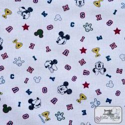 Tissu coton Mickey Champion X10cm - Blanc  - 3Tissucoton Mickey -Blanc 100% coton - Bio certifié GOTS et OekoTex Hauteurenvir