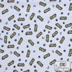 Tissu coton Star Wars 2 X10cm - Blanc  - 1TissucotonStar Wars 2-Blanc 100% coton - Bio certifié GOTS et OekoTex Hauteurdu mo